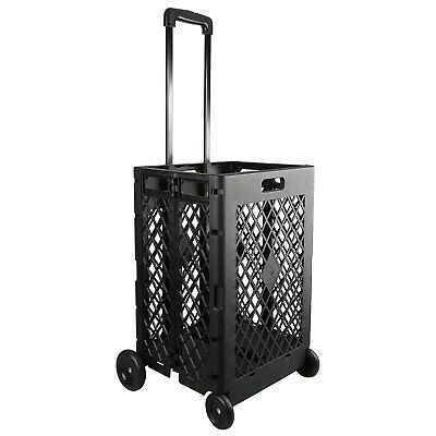 Folding Shopping Cart Rolling Storage Open Basket Carrier Grocery Laundry Wheels