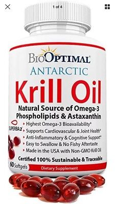 BioOptimal Krill Oil Capsules No Fishy Aftertaste Non-GMO Premium Quality Omega