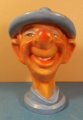"""Vintage Clown/Character Coin Bank NY Vinyl Production Corp w/Stopper-9 1/2"""" tall"""