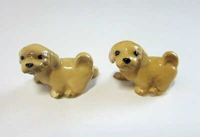 2 Vintage Miniature Hagen Renaker Lhasa Apso Puppy Dog Ceramic Figurines No 817