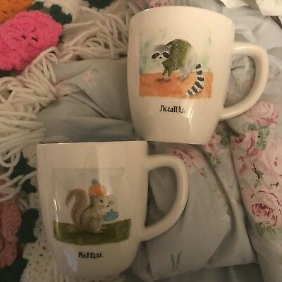 NEW Rae Dunn Set of Two Winter Mugs Squirrel Mittens & Raccoon Sweaters Bundle