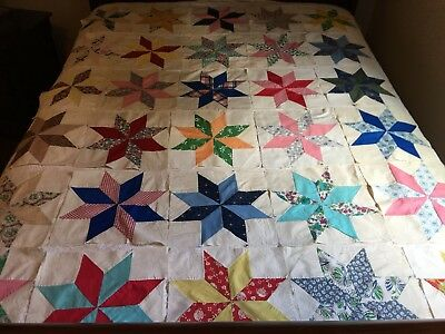 Lot Of 30 ANTIQUE/VINTAGE HAND SEWN 8-Point STAR QUILT BLOCKS-Beautiful Condit