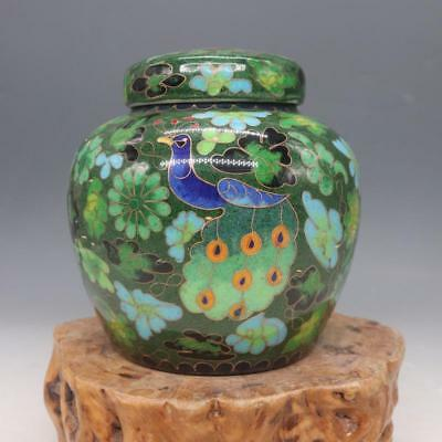 China old Porcelain Cloisonne painting Peacock flower Tea canister pot