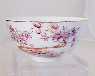 "Chinese Tea Bowl Cup Plum Tree Blessing Calligraphy Puce 4.5"" Dia. Poem"