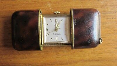 Stowa tiny Deco  vintage travel/desk clock in leather case.Rare and collectable.