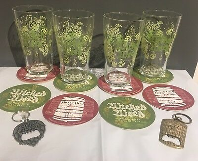 Wicked Weed Brewing Company Pint beer Glass Set 4 & 12 Coasters BRAND NEW