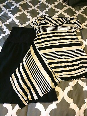 🤰🏼 A Pea In The Pod Black Skirt & Jessica Simpson Maternity Shirt, Size Small