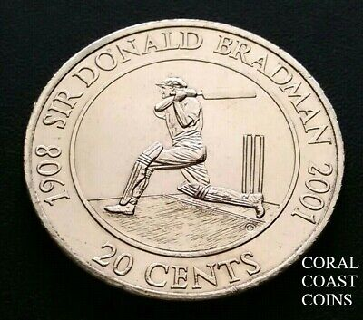 2001 20 Cent Coin's Sir Donald Bradman Ex R.A.M roll. Fantastic Examples.