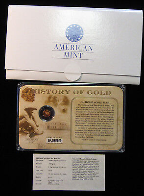 History of Gold - American Mint - .5g .585 Gold Medal. 1848 Cal.Tribute.(618107)