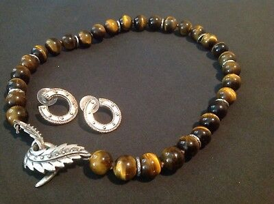 Longaberger So Rachel Set Tiger's Eye Bead Necklace w/ Leaf Clasp and Earrings