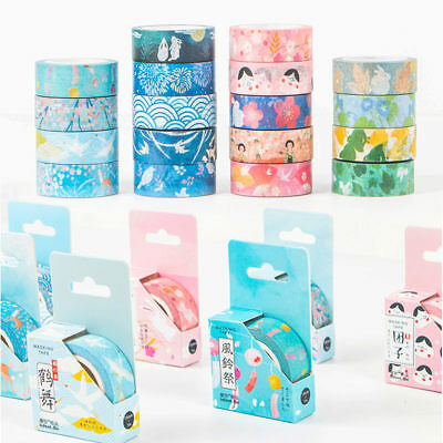 Roll DIY Floral Washi Sticker Decor Paper Masking Adhesive Tape Crafts With Box