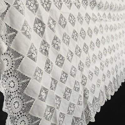 Huge ANTIQUE Table CLOTH White COTTON Vintage Bright & Crochet
