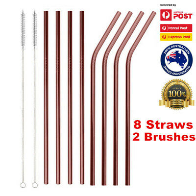 Rose Gold 8xStainless Steel Metal Straw Straws Bent Reusable Washable +2 Brushes