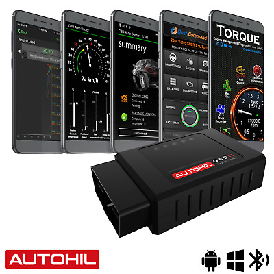 Autohil Bluetooth OBD2 Scan Tool For Android Car OBD II Engine Data Code Reader