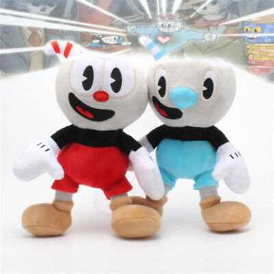 """10"""" Cuphead Game Cuphead Mugman Plush Doll Mecup And Brocup Figure Kid Toy Gifts"""