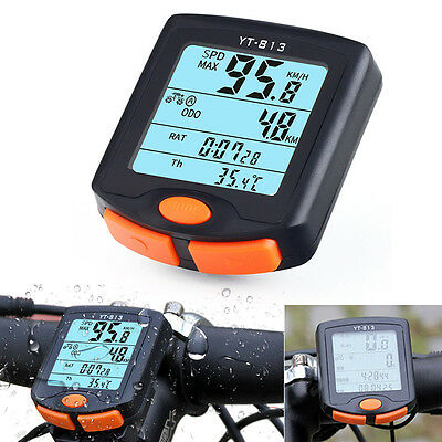 Wireless Mountain Bike Cycling Bicycle LCD Computer Odometer Speedometer Backlit