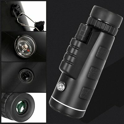 40X60 Monocular Telescope HD Night Vision Scope With Compass Phone Clip Tripod A