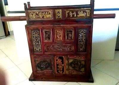 Antique Asian Chinese Wedding Cabinet Chest