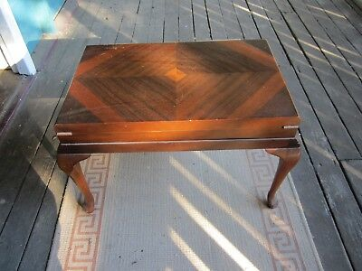 Vintage Marquetry Top Wooden Cutlery Box on Stand