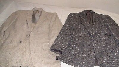 VTG 1950s Suit Lot Atomic Fleck Tweed Tan Wool Hollywood Waist Penneys Patch