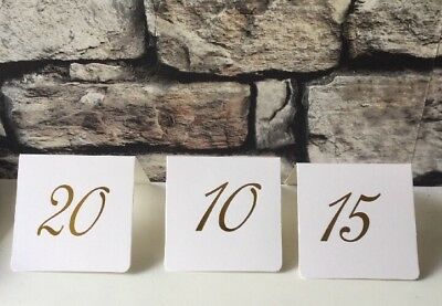 1-30 Table Numbers-Wedding - Events - White Card/gold Lettering - Table Numbers