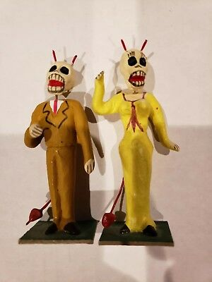 Mexican devil skull Couple, Day of the Dead handmade, figurine Mexican art