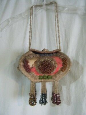 Large Antique Native American Iriquois Beaded Whimsy Hanging Box