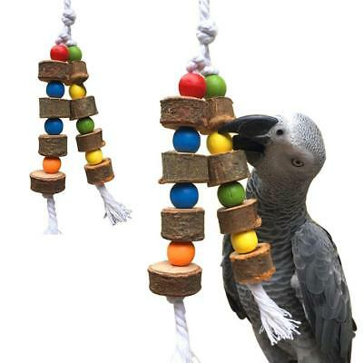 Parrot Pet Bird Chew Bite Toy Wooden Bell Cage Swing Toys For Cockatiel Parakee~