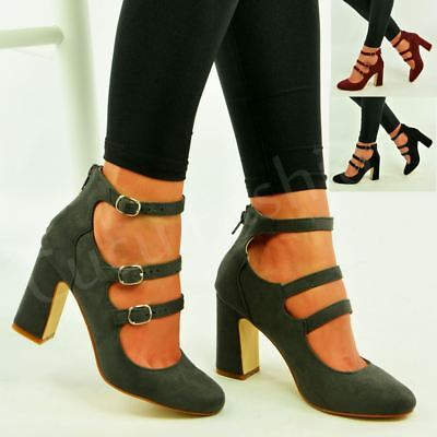 Ladies Womens Mary Jane Pumps Block Chunky Heels Ankle Strap Shoes Size Uk
