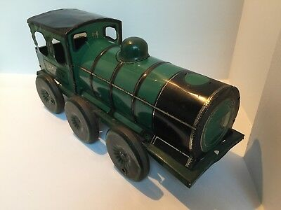 HUGE 16 1/2 INCH LM&SR TINPLATE EARLY ENGLISH FLOOR TOY TRAIN ENGINE c.1930's
