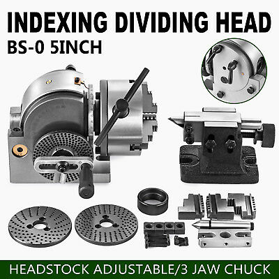 BS-0 Precision Semi Universal Dividing Head Tailstock Spindle w/ 5'' 3 JAW CHUCK