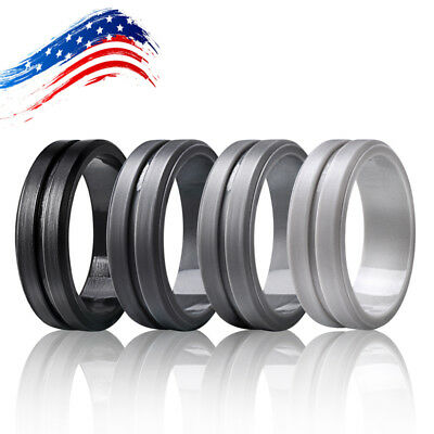Silicone Wedding Ring Men Outdoor Gym Rubber Band Elegant Flexible Sport Rings