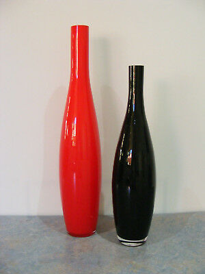 Pair Of Tall Cased Art Glass Feature Vases - Home Decor - 49cm & 39.7cm - VGC