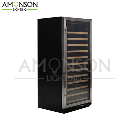 NEW AMONSON LIGHTING 100 Bottle Wine Cooler Black Compressor refrigerator LED
