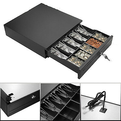 Cash Register Till Drawer Money 4 Bills 5 Coins Removable Tray Safe Key Lockable
