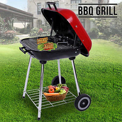 Smoker Meat Charcoal Trolley BBQ Garden Rack Barbecue Grill Plate Powder Wheels