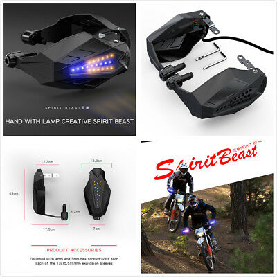 Pair 12VDC Motorcycle Handguard Baffle Protection Windshield Hood With LED Light