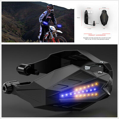 2Pcs Motorcycle Handguard Baffle Protection Windshield Hood With LED Waterproof