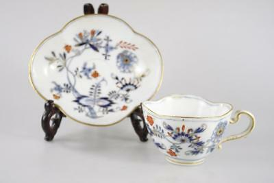 ANTIQUE 19th Century MEISSEN FLORAL PATTERNED GILDED DECORATED CUP & SAUCER