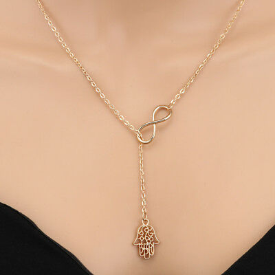 NEW Infinity Hamsa Hand Pendant Palm Charm Gold Silver Necklace Chain Jewelry