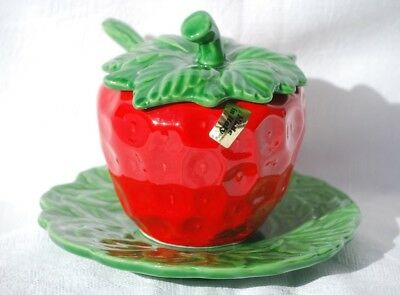 Strawberry Pot with Ladle and Saucer Made in Italy Sauce Boat Preserve Pot