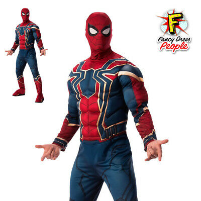 Mens Infinity War Iron Spider Deluxe Costume Official Superhero Film Outfit