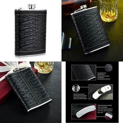 Gennissy Beast Grain Hip Flask Pu Leather And Stainless Steel With Funnel 9Oz