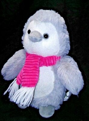 "Animal Adventure 9"" Plush Penguin Owl Bird Grey Pink Ribbed Scarf Stuffed Animal"