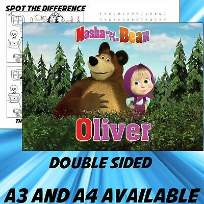 Childrens Masha and the Bear Dinner Mat A4 / A3 sizes available Place Mat