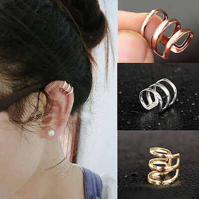Unisex Xmas Jewelry Punk Rock Ear Clip Cuff Wrap No piercing-Clip On Earrings