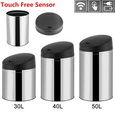 New 13-Gallon Touch-Free Sensor Automatic Stainless Steel Trash Can Kitchen