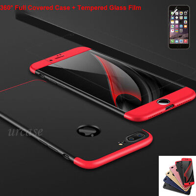 Ultra Thin Case Cover+Tempered Glass Screen Protector for iPhone 8 7 6s Plus