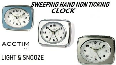 Acctim Retro 2 Silver Bezel Alarm Clock Light & Snooze New Original Branded
