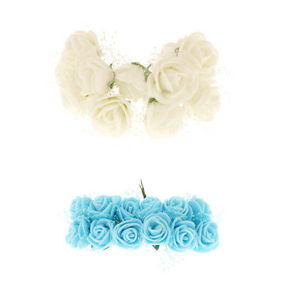 2pcs Bunch Artificial Small Roses Flower Heads Home Wedding DIY Floral Decor